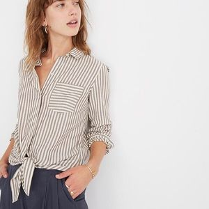 NWT Madewell Tie-Front Shirt Maitland Stripe Small